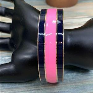 j crew pink enamel wide bangle bracelet NWT
